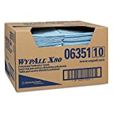 "Kimberly-Clark Wypall X80 Spunlace Foodservice Towel, 24"" Length X 13-1/2"" Width, Blue (Case of 150)"