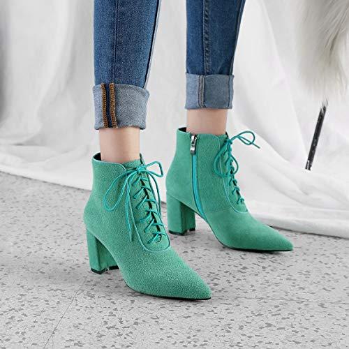 Altos top Zapatos Yan Bow Formales Cordones Vestir Verde High Zipper De Gamuza Casuales Mujer Tacones Tobillo Con Para Botas Nudo Cuero Áspero ggwqfzS