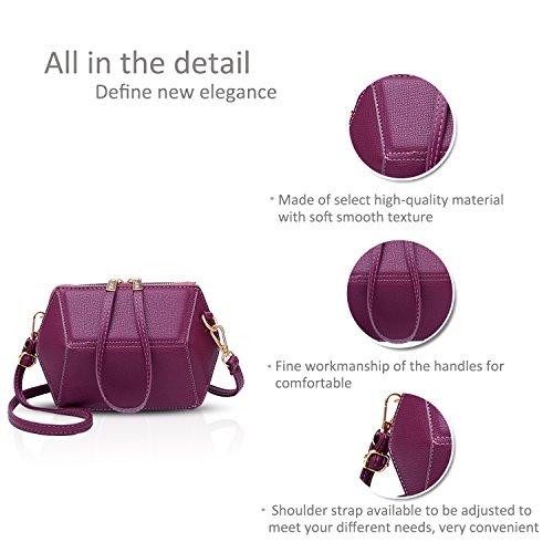 NICOLE&DORIS Casual Elegante Bolsos de Mano Totes para Mujer Monederos Mujer Bolso Commuter Bandolera Impermeable Durable Suave PU Negro Púrpura