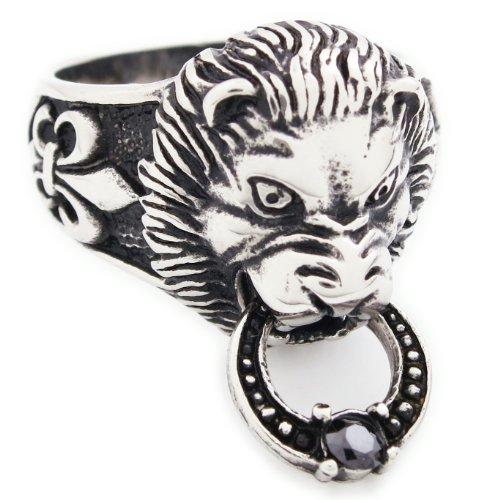 (Stainless Steel Lion Head Door Knocker Men Biker Ring Size 9)