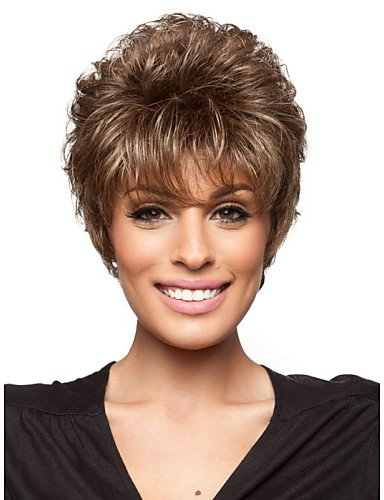 wigstyle pelucas europeos Moda pelo peluca pelo corto mujeres Alla Moda Sin pegamento Profundidad rizado para