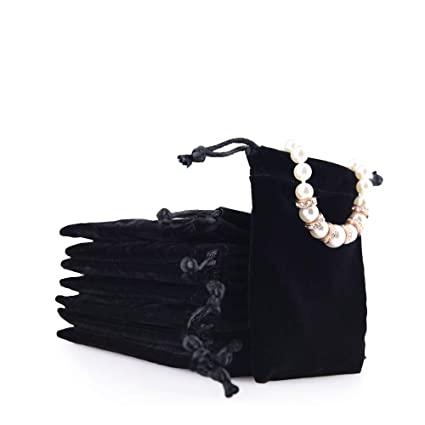 80253b929e23 Oirlv 50PCS velvet jewelry storage bags small accessories collected  Drawstring Pouches display and gifts For Weeding Party(Black)