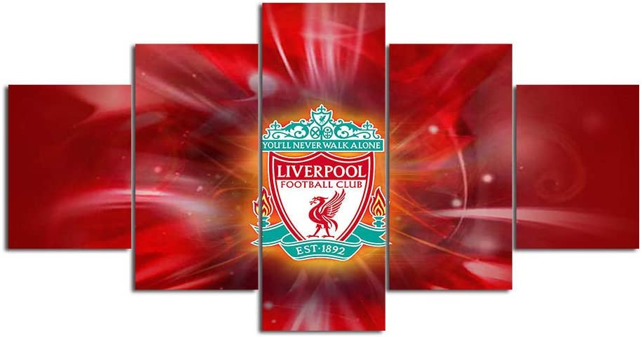 Liverpool Wall Art 5 Piece Canvas Paintings FC Football Club Picture Poster 8 Home Decor for Living Room Artwork Framed Ready to Hang-200x100cm