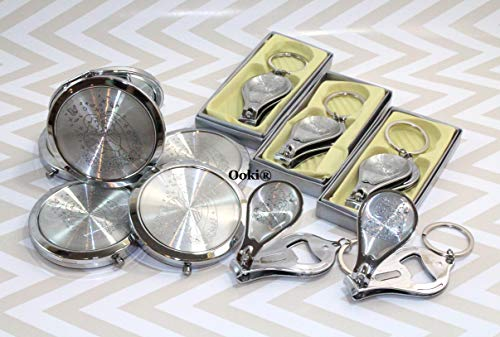 24 Bride and Groom Wedding Celebration Recuerdos para Quinceanera Sweet 16 Party Favors Compact Mirror Nail Clipper Bottle Opener Keychain Baptism Baby Shower (Silver)