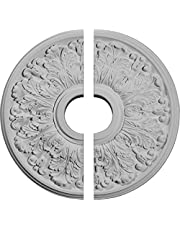"Ekena Millwork CM16AP2 16 1/2""OD x 3 5/8""ID x 1 1/8""P Apollo Ceiling Medallion, Fits Canopies up to 5-5/8"", 2 Piece"