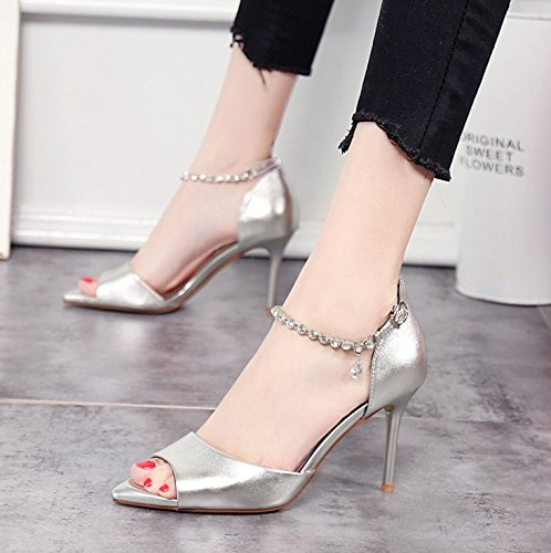 Fish One Silver 9Cm Word Water Hollow Lady Buckle Spring Mouth 34 Elegant Heel Heels Sandals Work Fine Drill MDRW Leisure qXTwBPSS