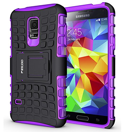 S5 mini Case,Pegoo Shockprooof Impact Resistant Hybrid Heavy Duty Dual Layer Armor Hard Plastic and Soft TPU With a Kickstand bumper Protective Cover Case for Samsung Galaxy S5 mini (Purple)
