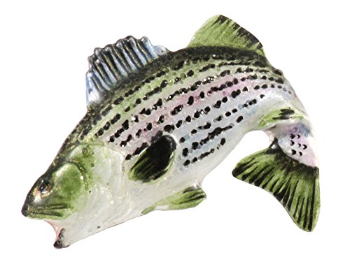 gns Striped Bass Leaping Hand Painted Pin, SP052 ()
