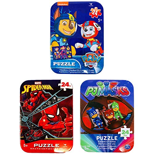 3 Jigsaw Puzzle Tins Boy Nick Jr Nickelodeon Marvel 24 48 Pieces Ages 5+ 6+ Spiderman, PJ Masks, Paw Patrol Cartoon Bundle Gift -