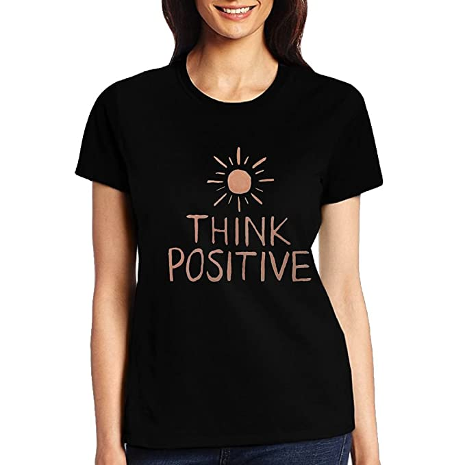 bbb174b20594 Amazon.com: Women's Cute T Shirt Think Positive Junior Tops Teen Girls Graphic  Tees: Clothing
