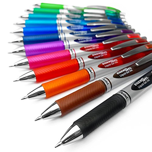 Pentel EnerGel XM BL77 - Retractable Liquid Gel Ink Pen - 0.7mm - 52% Recycled - Pack of 12 Mixed Colours Pentel Color Pen Set