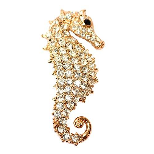 Navachi 18k Gold Plated White Crystal Hippocampus Az7356b Brooch ()
