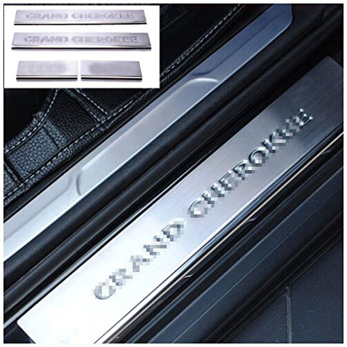 Nicebee 4pcs Stainless Steel Door Front & Rear Sill Entry Guard Bars Protection For Jeep Grand Cherokee 2011-2016 With Jeep Logo