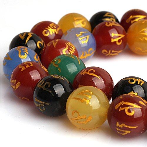 - Mixed Color Agate Tibetan Guru Beads for Jewelry Making Natural Gemstone Semi Precious 12mm Round 15
