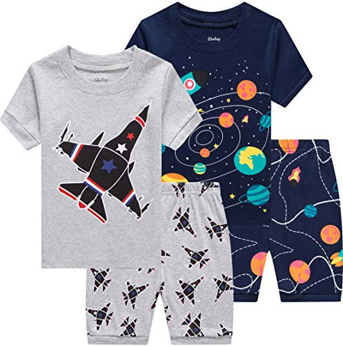 shelry Pajamas for Boys Summer Children Airplane Rocket Clothes Kids Short Set 4 Pieces Sleepwear 4t