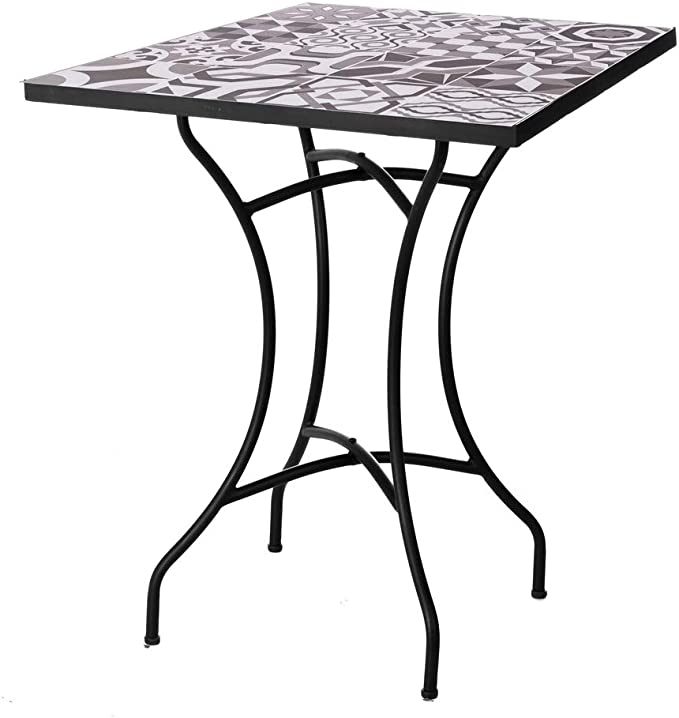 Mesa de jardín de Hierro con Mosaico Gris para terraza Garden - LOLAhome: Amazon.es: Jardín