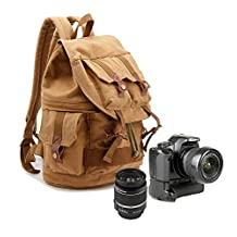 Yimidear Canvas DSLR SLR Camera Shoulder Bags Backpack Rucksack Bag With Waterproof Cover And Inner Tank Bag For Sony Canon Nikon Olympus 46x33x15cm