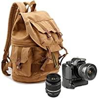 Yimidear Canvas DSLR SLR Camera Backpack Travel Daypack Cool SchoolBag Rucksack with Shockproof Insert & Rainproof Cover