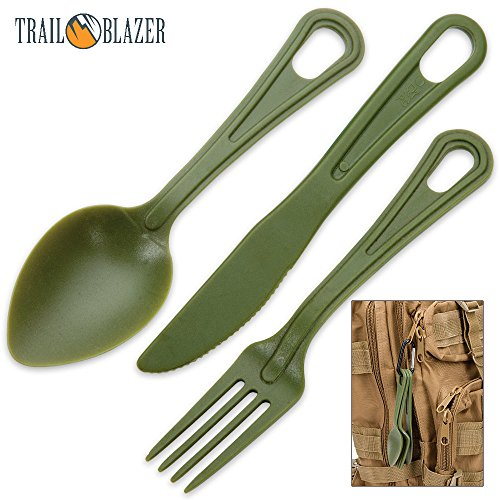 Lexan Outdoor Dining Utensil Set on Carabiner - Army Green ()
