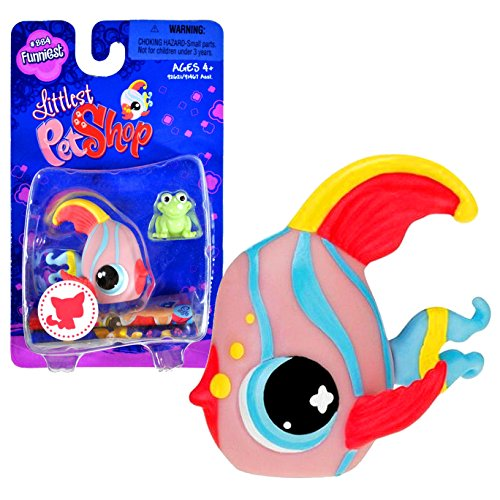"Hasbro Year 2008 Littlest Pet Shop Single Pack ""Funniest"" Series Bobble Head Pet Figure Set #884 - ANGEL FISH with Green Mini Frog (#92621)"