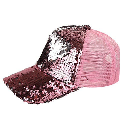 Women's Baseball Cap, Magic Sequins High Ponytail Messy Bun Adjustable Mesh Hat (Pink)