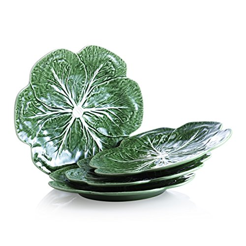 Bordallo Pinheiro Cabbage Green Dinner Plates, Set of 4