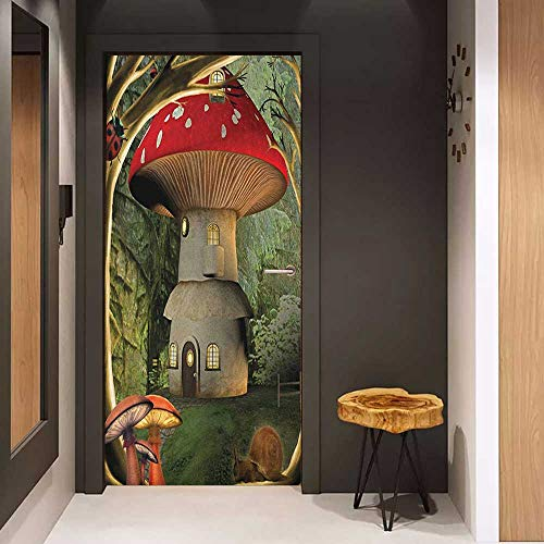 Onefzc Door Sticker Mural Mushroom Shroom House in Enchanted Forest wih Ladybug and Snail Whimsical Tree WallStickers W38.5 x H77 Red Pale Coffee Green