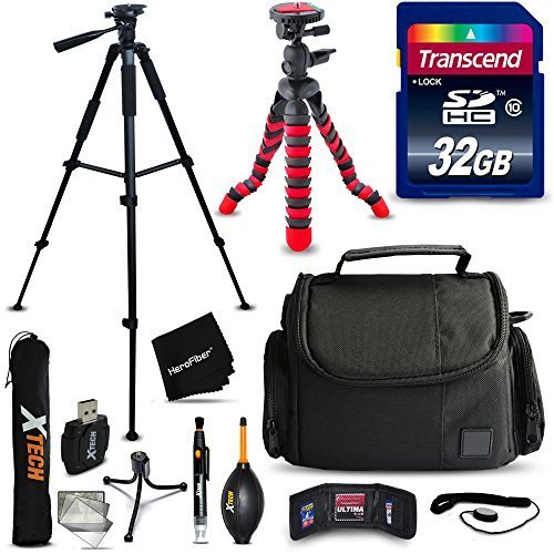 32GB Accessories Kit for Nikon Coolpix B700, B500, A900, L840 L830, L820, L620, L610, P900, P610, P600, Kit includes: 32GB Memory Card + Padded Case + 60′ inch Tripod + 12′ Flexible Tripod + MORE