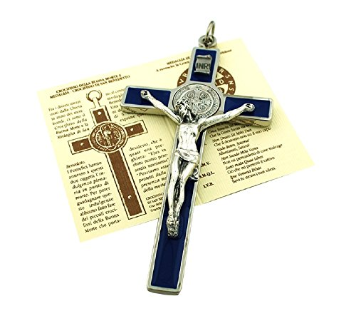 St. Benedict Wall Crucifix with Colored Enamel and Booklet Explaining The St. Benedict Medal (Brass Wall Crucifix)