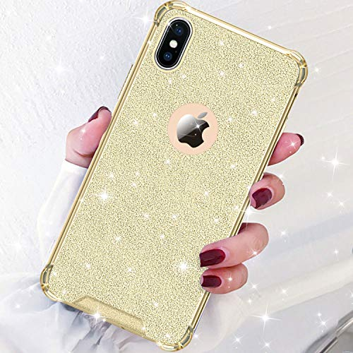 DAUPIN Compatible iPhone Xs iPhone X Case for Women Girl Phone Cover Bling Glitter Protective Defender Shockproof Hard Back Cases for Apple iPhone Xs/X (Gold)