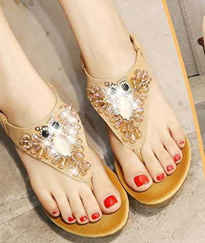 Sandals Shoes Bohemia apricot Women Wedge IDIFU Heels qwIOfzA