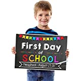 Katie Doodle SG007 1st Day of School Chalkboard Poster Sign-Customizable (Includes Chalk Writer), 12x18 inches, Black Style