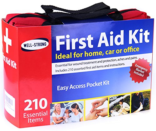 WELL-STRONG First Aid Kit 210 Pieces with Durable and Compact Canvas Bag for Home, Car, School, Office, Sports, Travel, Survival, Adventure, Marine, Outdoor Hiking and Camping