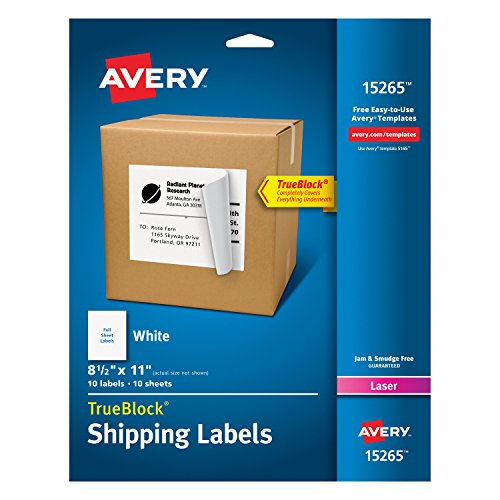 Avery Shipping Address Labels, Laser & Inkjet Printers, 10 Labels, Full Sheet Labels, Permanent Adhesive, TrueBlock (15265)