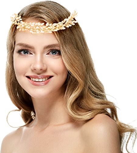 [Crystal Floral Headband With Gold Flower Headband for Wedding Festivals, Prom or Party (Gold)] (Cat Doesnt Like Halloween Costume)