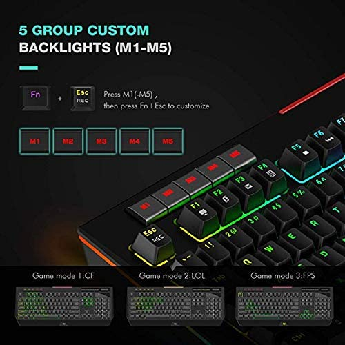 ZUEN Keyboard Mechanical Keyboard Comfort Durable Backlighting Sensitive Wired Home Black