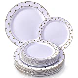 PARTY DISPOSABLE 240 PC DINNERWARE SET | 120 Dinner Plates | 120 Salad/Dessert Plates | Heavy Duty Plastic Dishes | Elegant Fine China Look | for Upscale Wedding and Dining (Dots–Gold/White)