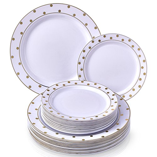 (PARTY DISPOSABLE 240 PC DINNERWARE SET | 120 Dinner Plates | 120 Salad/Dessert Plates | Heavy Duty Plastic Dishes | Elegant Fine China Look | for Upscale Wedding and Dining (Dots–Gold/White))