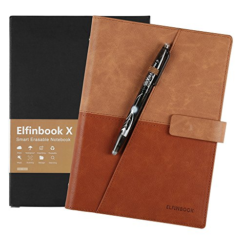 [2018 Upgraded] Newest Version Business Elfinbook Smart Notebook 3.0, Cloud Storage, Evernote Storage, Mind Map, Reusable Notebook, Pilot FriXion Pen,110 Pages A5, 5.8 x 8.6-inch,Gentle Brown