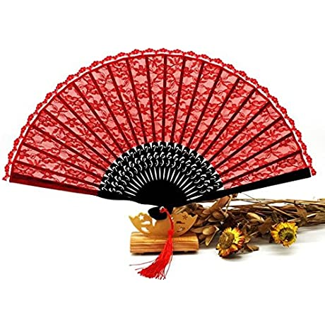 50Pcs Lot Delicate Elegant Red Floral Lace Pocket Fans Party Dancing Fabric Folding Held Hand Fan