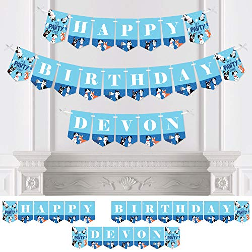 Big Dot of Happiness Personalized Pawty Like a Puppy - Custom Dog Birthday Party Bunting Banner & Decorations - Happy Birthday Custom Name Banner ()