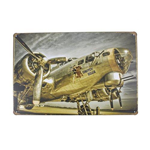 12x8 Inches Pub,bar,Home Wall Decor Souvenir Hanging Metal Tin Sign Plate Plaque (Army Airplane)