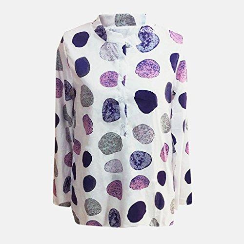 Dot Blanc Manche Bureau Bouton Shirt Femmes LMMVP Longue T Haut De Blouse Travail Grande Taille 5T4xZ