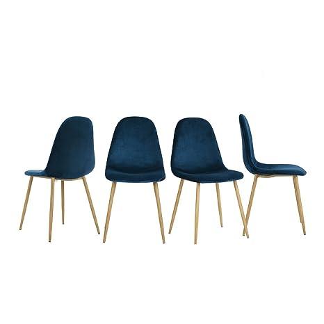 Juego de 4 sillas de comedor Innovareds tapizadas con terciopelo ...
