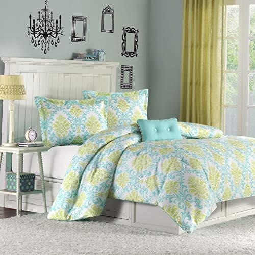 Kaputar Cozy Ultra Soft Modern Chic Teal Aqua Blue Green Girls Comforter Set Pillow | Model CMFRTRSTS - 3331 | Full