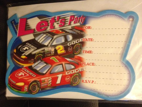 (Kid's Party Race Car Invitations & Envelopes - Pack of)