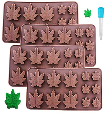 Marijuana Silicone Mold 4 pack for Gummies Hard Candy Cannabis Weed Edible leaf Mold Ice Cube Chocolate + Bonus Dropper
