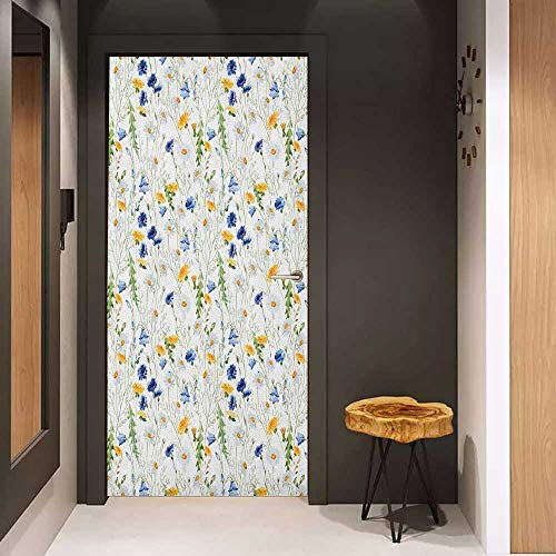 Onefzc Wood Door Sticker Flower Wild Flowers Poppies and Daisies Rural Nature Scenery in Meadows Rustic Easy-to-Clean, Durable W38.5 x H79 Blue Pale Green Yellow ()