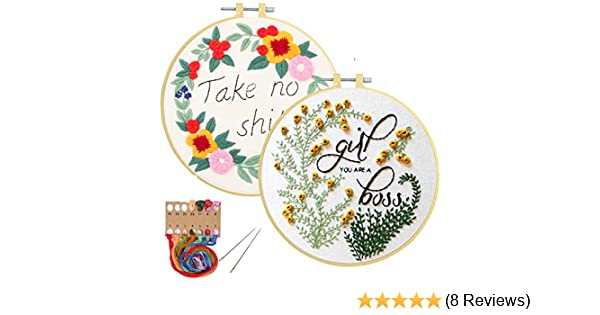 2 Pack Embroidery Beginners Kit Cross Stitch Craft Kits for Adults Embroidery Fabric with Pattern Embroidery Hoops