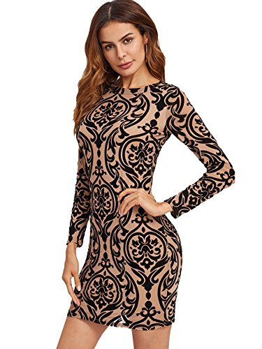 Floerns Women's Damask Print Sexy Keyhole Back Bodycon Cocktail Party Round Neck Long Sleeve Wedding Guest Slim Fit Dresses Brown Keyhole Back S